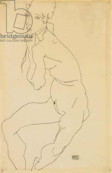 Seated female nude with hand on chin, 1914 (pencil on paper)