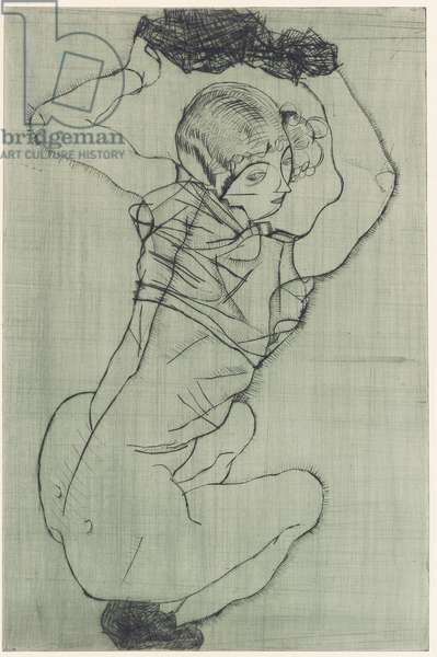 Crouching (Kallir 6), 1914, published 1919 (drypoint)