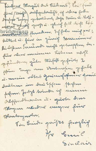 Letter from Hermann Hesse (signed as 'Emil Sinclair') to Josef Englert (pen and ink on paper)