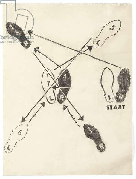 Dance Diagram, 1962 (graphite on paper)