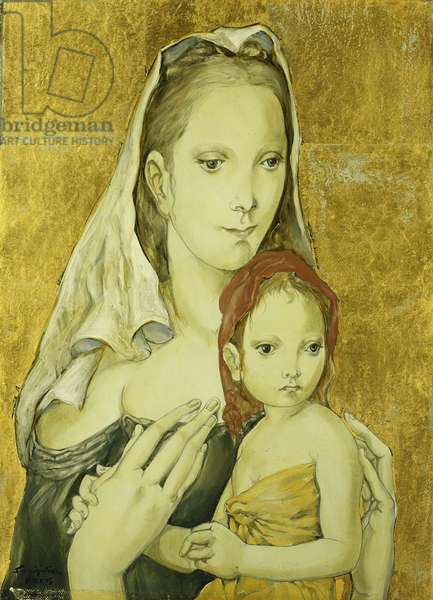 Mother and Child; Mere et Enfant, 1954 (oil and gold-leaf on canvas)