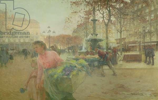 Place du Theatre Francais, in Paris, 1902 (oil on canvas)