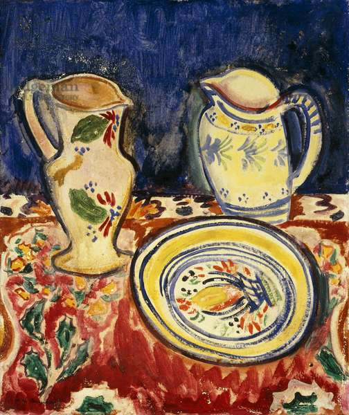 Still Life with Breton Pottery, (oil on canvas)
