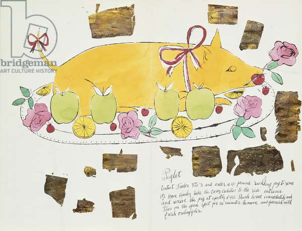 Piglet, c.1958 (hand-coloured w/c & gold leaf on offset litho)