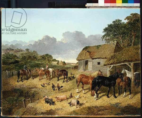 Horses drinking from a water trough, with pigs and chickens in a farmyard (oil on canvas)