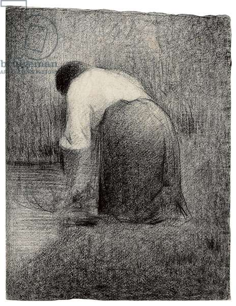 Kneeling Woman; Femme agenouillee, c.1881 (black crayon on paper)
