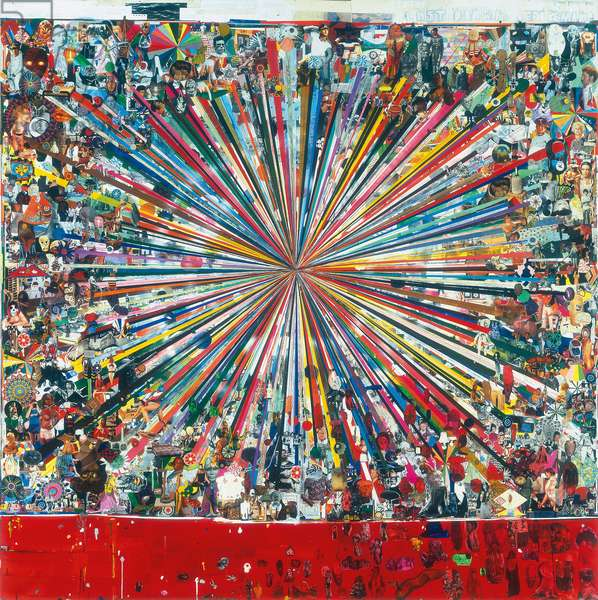 Last Drawing Before Mars, 2003-2004 (printed paper collage, paper collage, acrylic, aluminium foil, wax crayon, fabric and glitter on paper mounted on board)