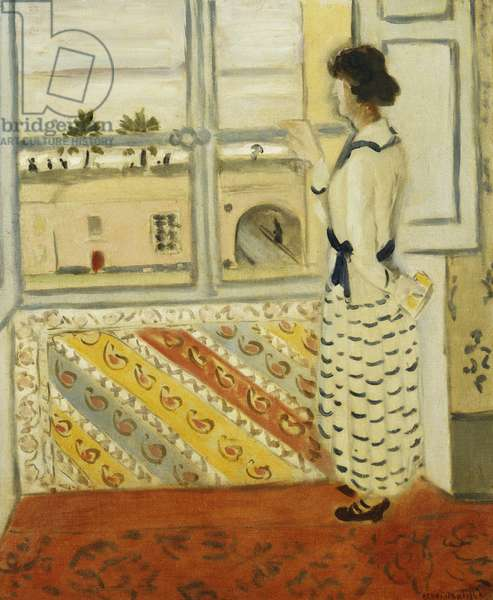 Young Woman at a Window, Blue Striped Dress; Jeune Femme a la Fenetre, Robe Rayee Bleue, 1921-22 (oil on canvas)