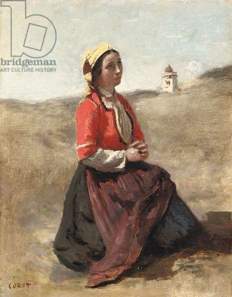 The Breton in Prayer,  (oil on paper laid down on panel)