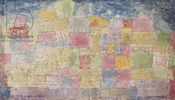 Colourful Landscape; Bunte Landschafte, 1928 (tempera on incised plaster on artist's board)