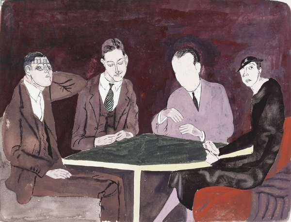 F. Scott Fitzgerald and Others, c.1937 (gouache on paper)