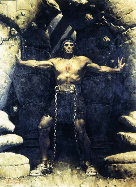 Samson Tearing Down the Temple: (Portrait of Victor Mature), 1949 (oil on canvas)