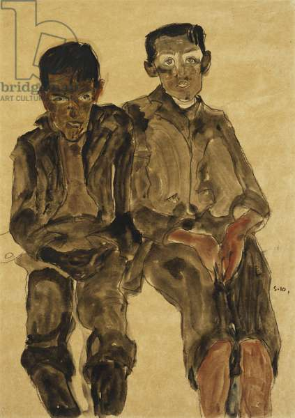 Two Seated Boys; Zwei Sitzende Knaben, 1910 (Gouache, watercolour and soft pencil on buff simili-Japan paper)