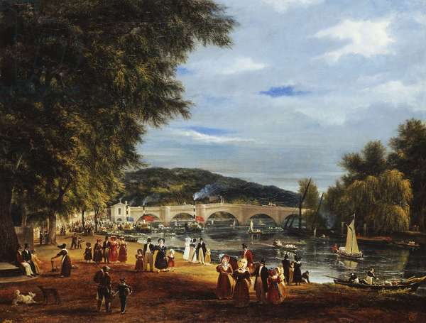 A View of Richmond Bridge with Boats on the River and Figures Promenading,  (oil on canvas)
