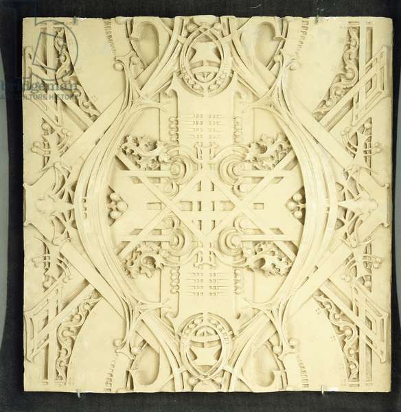A ceiling fragment, decorated with elaborate scrolls and foliate devices, 1906-1908 (plaster)