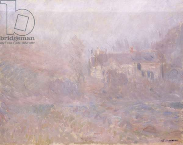 Houses at Falaise in the Fog, 1885 (oil on canvas)