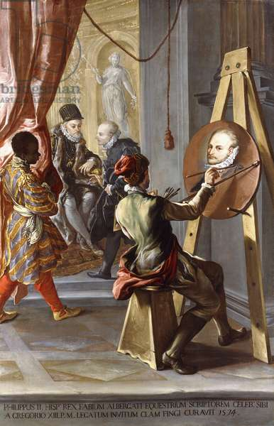 Fabio Albergati received by Philip II of Spain, while an Artist Secrectly Executes his Portrait on the King's Instructions (oil on canvas)