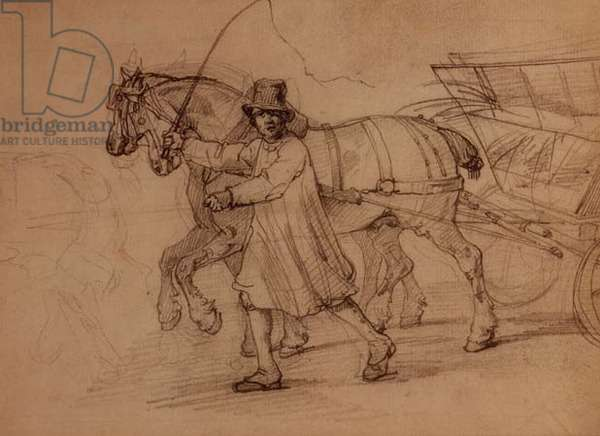 Peasant driving a cart of straw (pencil)