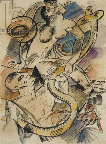 Two Nudes with Cat and Snake; Zwei Akte mit Katze und Schlange, 1912 (watercolour, pencil, pen and black ink on paper)