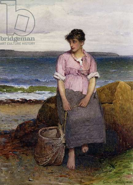 A Young Fishergirl by the Sea, 1884 (pencil and watercolour)