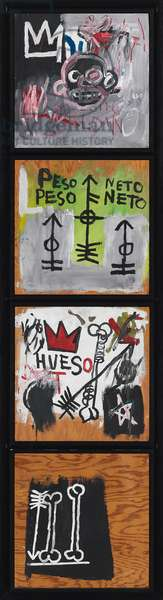Peso Neto, 1982 (acrylic and coloured oilsticks on four panels)