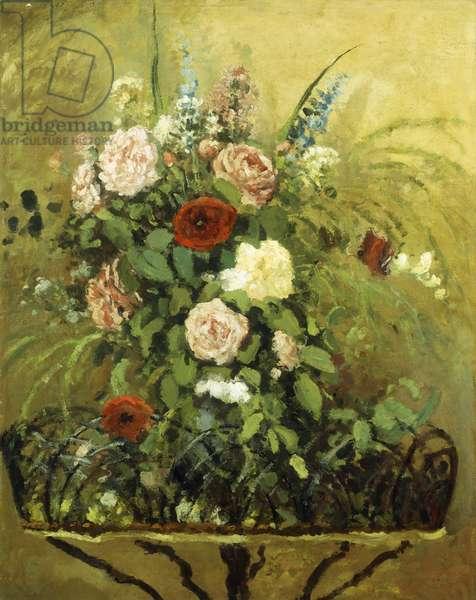 Bouquet of Flowers with a Rustic Wooden Jardiniere; Bouquet de Fleurs, Avec Jardiniere en Bois Rustique, c.1876 (oil on canvas)