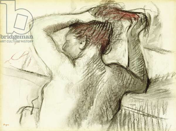 Naked Woman Styling her Hair (bust); Femme Nue se Coiffant (buste),  (charcoal and pastel on paper)