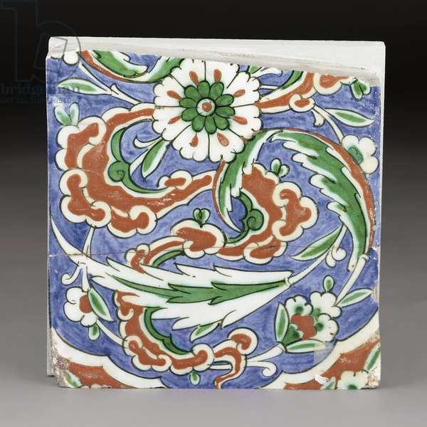 A partial Iznik pottery tile, Ottoman Turkey, late 16th Century (ceramic)