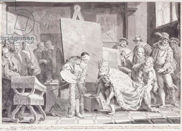 Emperor Charles V picking up Titian's Paintbrush,  (black chalk, pen and brown and black ink, with grey wash)