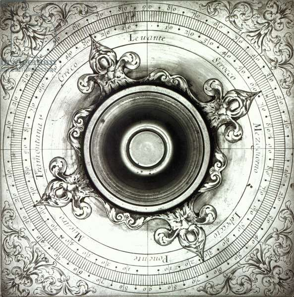 Brass Wind Compass, by Jacobus Lusuerg, Rome, 1687 (front) (b/w print)