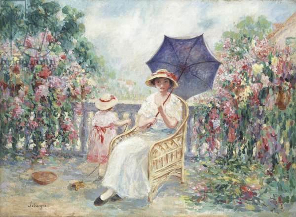 Young Girl and Child on a Terrace, 1914-15 (oil on canvas)