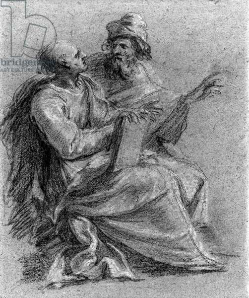 Two seated prophets, one holding a book (chalk on paper)