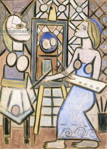 Artist and model, c.1936 (gouache on brown paper laid down on canvas)