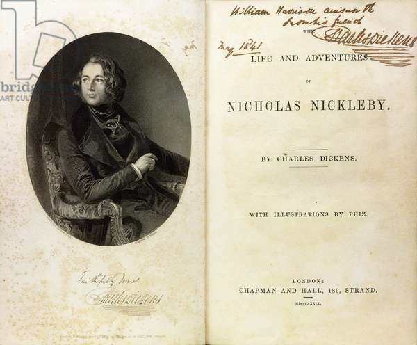 Double page spread with a portrait of Dickens, and a dedication by Dickens to William Harrison Ainsworth, 1839 (book)