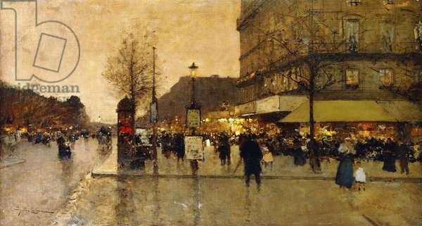 A Parisian Street Scene, (oil on canvas)
