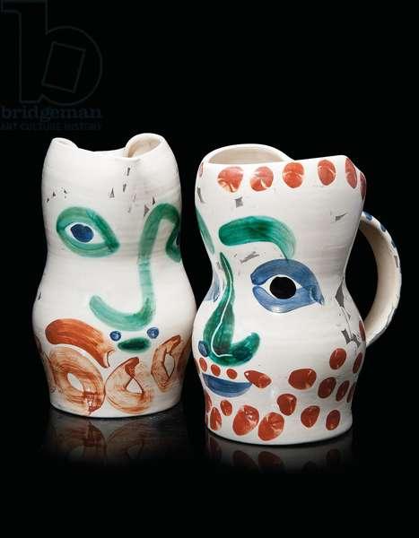 Visage aux Cercles, 1969 (partially glazed ceramic)