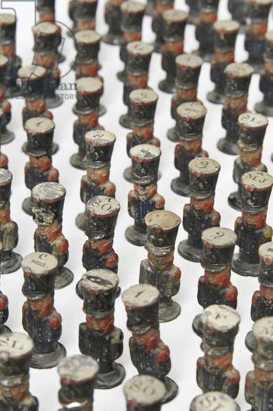 Large group of toy soldiers or campaign map-markers in the form of French infantry, c.1810-14 (painted wood) (see also 2921969)