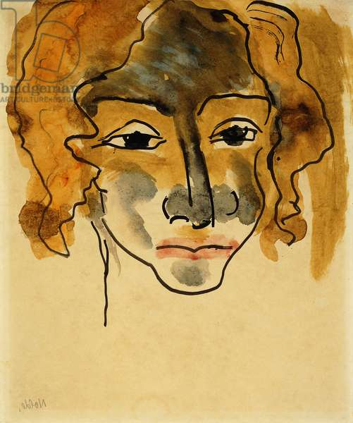 Head of Girl; Madchenkopf,  (watercolour with brush and black ink on paper)