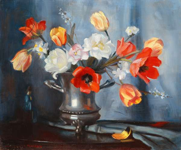 Tulips in A Silver Vase,  (oil on canvas)