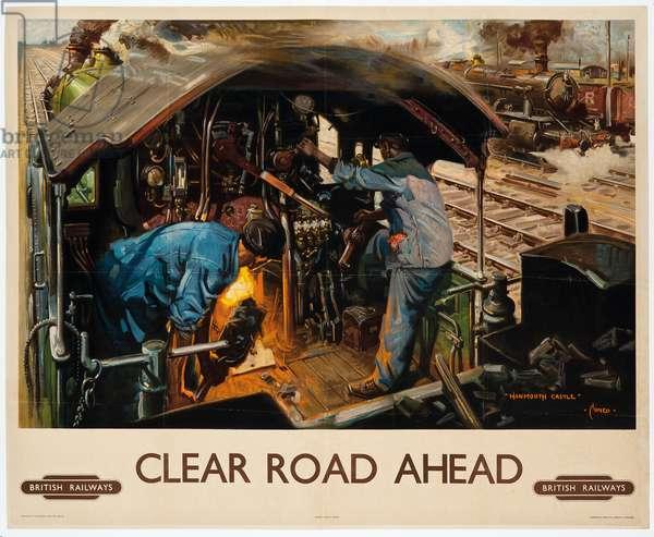 'Clear Road Ahead', a British Railways poster, 1949 (colour lithograph)