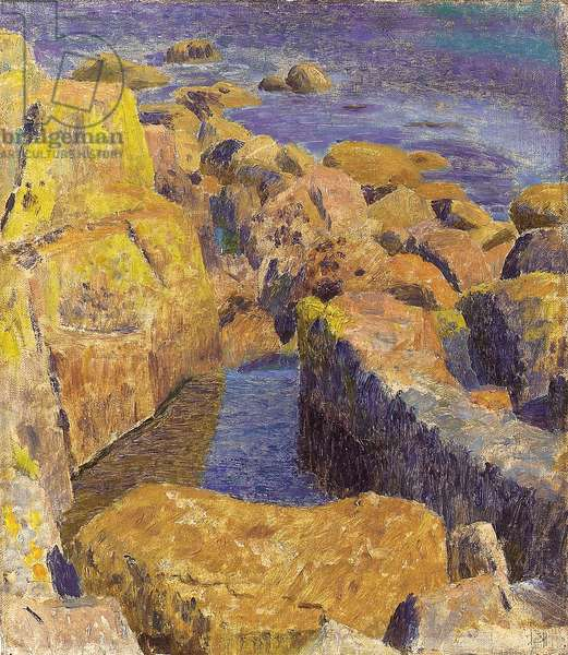 A rocky coastline, Cornwall (oil on canvas)