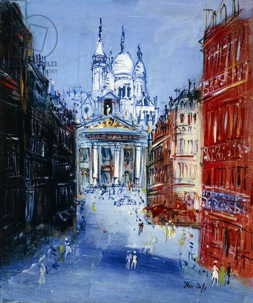 Rue Lepic with a View of the Sacre Coeur, Montmartre; Rue Lepic et Vue de Sacre Coeur, Montmartre,  (oil on canvas)