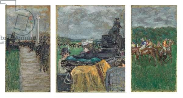 The Races at Longchamp; Les Courses a Longchamp, 1897 (oil on board, triptych)