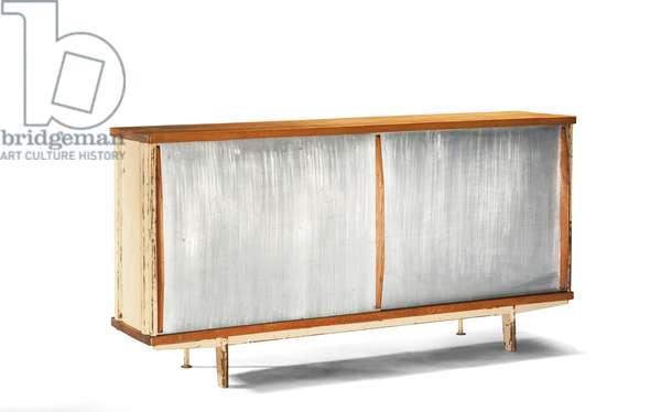 Sideboard, designed c.1942, executed 1948 (painted bent steel, oak veneer & aluminium)
