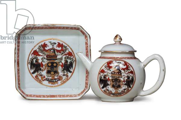 Armorial teapot, cover and stand, c.1720 (ceramic)