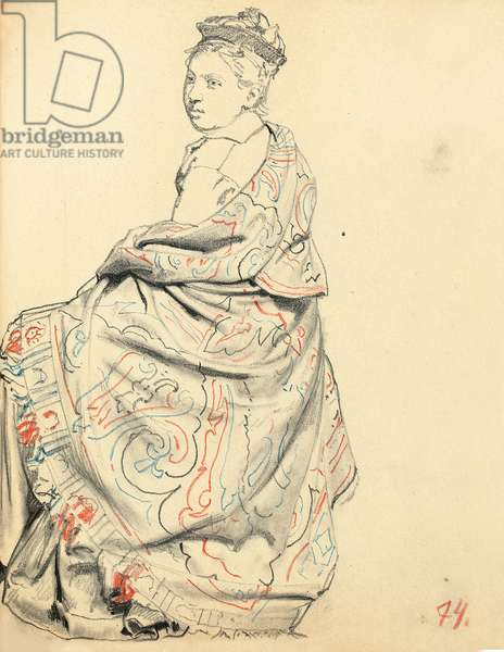 Study for 'A Parisian Cafe': Study of Dress for a Seated Woman, c. 1872-1875 (coloured pencils on paper)