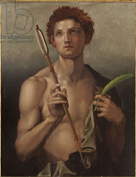 Saint Sebastian with an arrow in his right hand and the martyr's palm in his left (oil on panel)