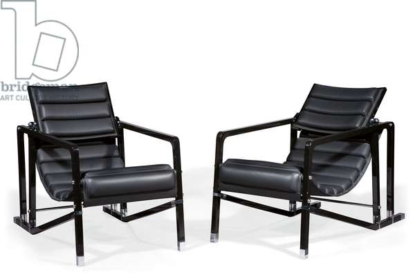 Pair of 'Transat' lounge chairs, c.1926-1930 (lacquered wood, chromed metal & leather)