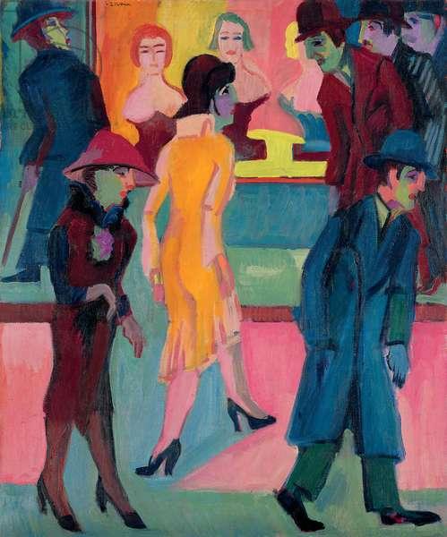 Street Scene by the Barber Shop; Strassenbild vor dem Friseurladen, 1926 (oil on canvas)