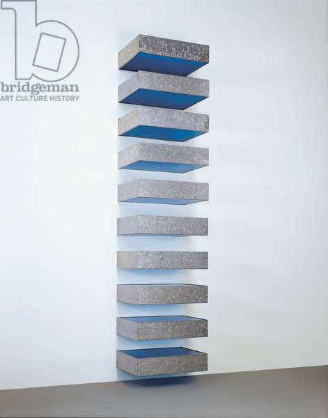 Untitled - 77-41 Bernstein, 1977 (galvanised iron & transparent blue plexiglas)